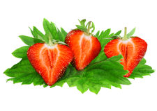 Three fresh strawberries. Isolated Royalty Free Stock Image