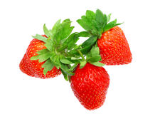Three fresh strawberries. Isolated Stock Photo
