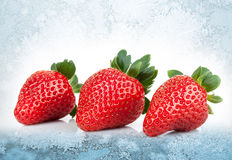 Three fresh strawberries lay on blue ice Stock Photo