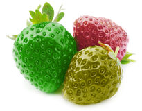 Three fresh, strawberries in three colors Royalty Free Stock Images
