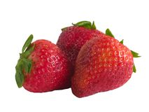 Three fresh strawberrry's Stock Photo