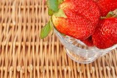 Three Fresh Summer Organic Strawberries Still Life, stock photography