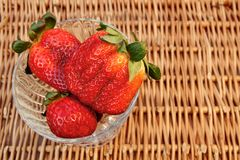 Three Fresh Summer Organic Strawberries Still Life,  Stock Photography