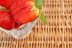 Three Fresh Summer Organic Strawberries Still Life, XXXL backgro Stock Images
