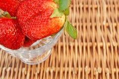 Three Fresh Summer Organic Strawberries Still Life, XXXL backgro Stock Images