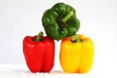 Three fresh sweet pepper Stock Image