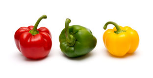 Three fresh sweet pepper Royalty Free Stock Photography