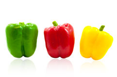 Three fresh sweet pepper Stock Image