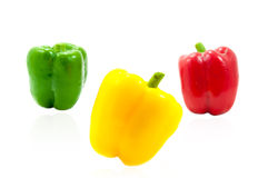 Three fresh sweet pepper Stock Images