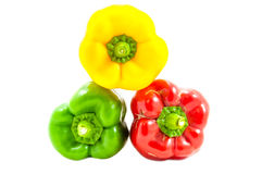Three fresh sweet pepper Stock Photos