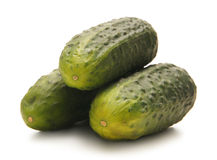 Three fresh and tasty green cucumbers on white Royalty Free Stock Photo