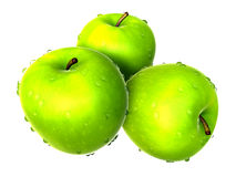 Three Fresh Yellow Green apples. Foods and Dishes Series. Stock Photography