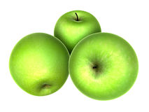 Three Fresh Yellow Green apples. Foods and Dishes Series. Royalty Free Stock Images