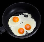 Three fried eggs on the frying pan during cooking closeup Royalty Free Stock Photography
