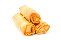Three fried spring rolls. Against white background Royalty Free Stock Images
