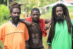 Three friends. Three Caribbean men pose for a photograth together stock image