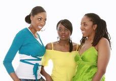 Three friends. Three pretty black girls stock images