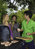 Three friends at a barbecue Stock Image