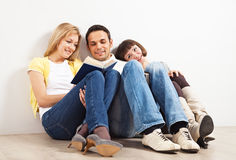 Three friends with books Stock Image