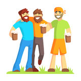 Three Friends With Bushy Beards Drinking Beer Outdoors, Part Of Male Friendship Series Of Illustrations. Royalty Free Stock Image