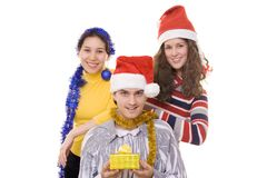 Three friends on christmas Stock Photography
