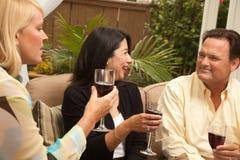 Three Friends Enjoying Wine on the Patio Royalty Free Stock Image