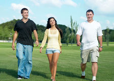 Three friends go to the park Royalty Free Stock Images