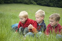 Three Friends in the grass. Three boyfriends sitting in the grass looking at something stock images