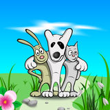 Three friends on grass. Cartoon three friends on grass and flowers Royalty Free Stock Photos
