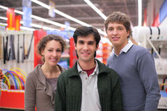 Three Friends In Shop Royalty Free Stock Photos