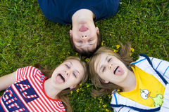 Three friends lay on a grass Stock Image