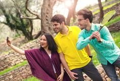 Three friends make selfi Royalty Free Stock Image