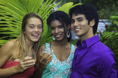 Three friends outdoors in hawaii royalty free stock photography