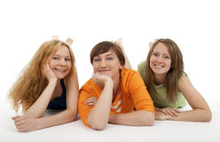 Three friends relaxing Stock Photos