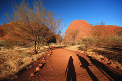 Three friends on the road to Kata Tjuta Stock Photos
