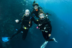 Three friends scuba diving together Royalty Free Stock Photos