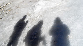 Three friends' shadows on ice Stock Photography