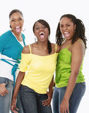 Three friends shouting. Happy shouting Royalty Free Stock Photography