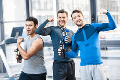 Three friends at sport club. Happy three friends at sport club Royalty Free Stock Photography