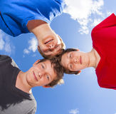 Three friends stick together Stock Photos