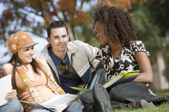 Three Friends Studying Together Royalty Free Stock Photo