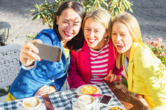 Three friends taking a  picture of themselves Stock Images