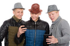 Three friends taking self Stock Image