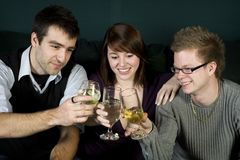 Three friends toasting Royalty Free Stock Images