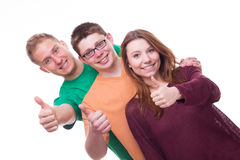 Three Friends with Tumbs Up Royalty Free Stock Photography