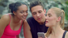 Three friends using smartphone in park. Young people talking. Cheerful friends stock video