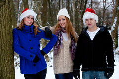 Three friends in winter time Royalty Free Stock Photos