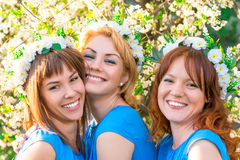 Three friends with wreaths on the head Stock Photos