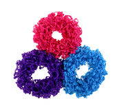 Three Frilly Hair Holders Royalty Free Stock Images