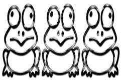 Three Frogs. Background ,Illustration of the three  frogs Stock Photos